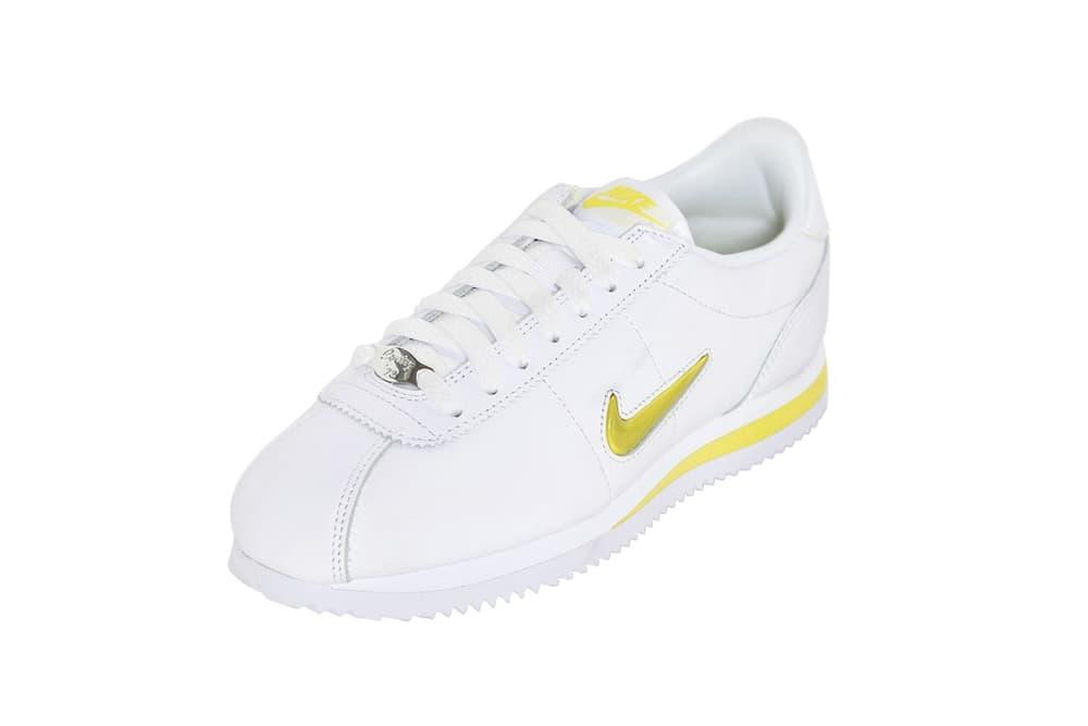 Nike Cortez Jewel in White/Yellow Spring Colorway Fresh Crisp Minimal Trainer Sneaker