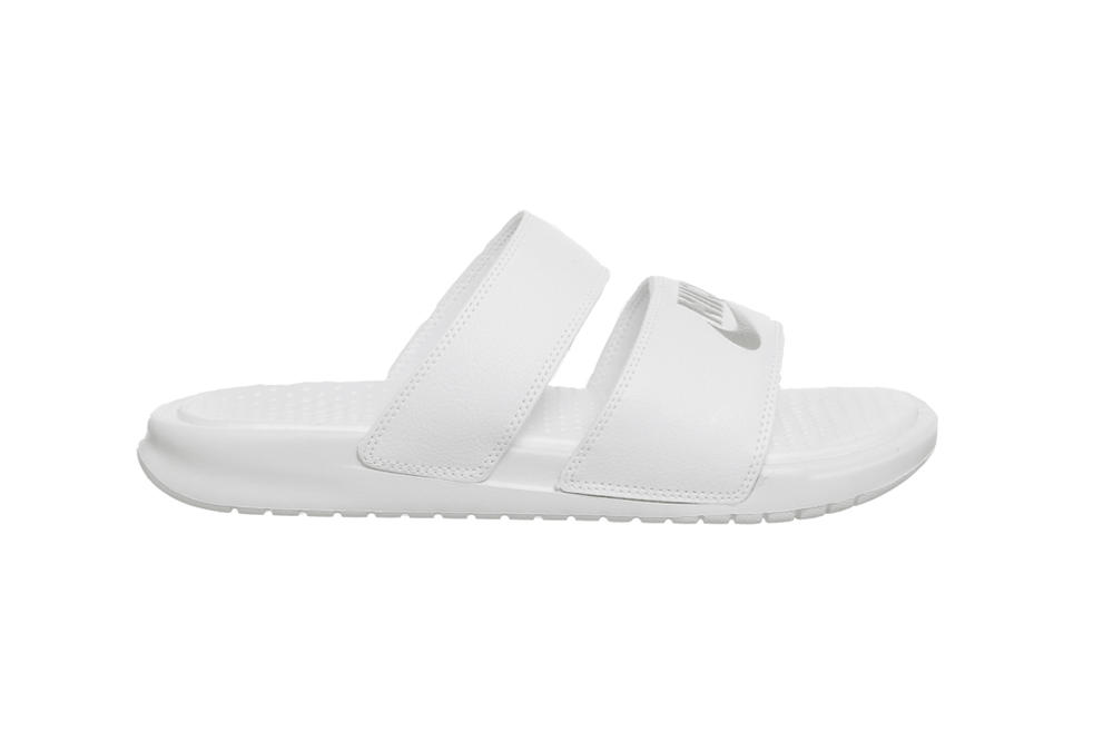 Nike Summer Double Strap Slides in White/Black Sandals Shoes
