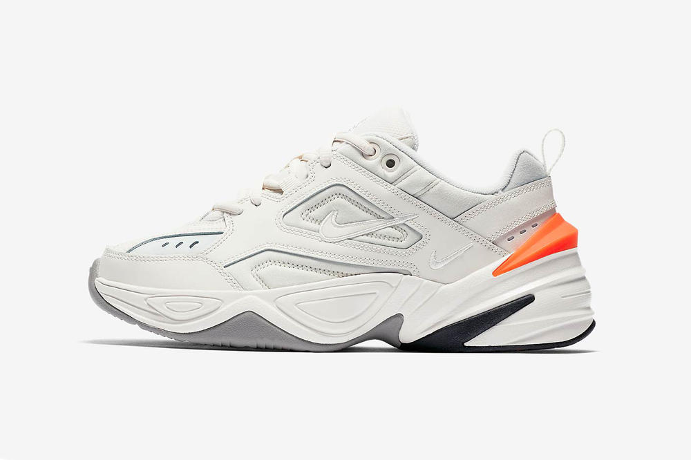 nike m2k tekno phantom dad shoe off white orange side profile view