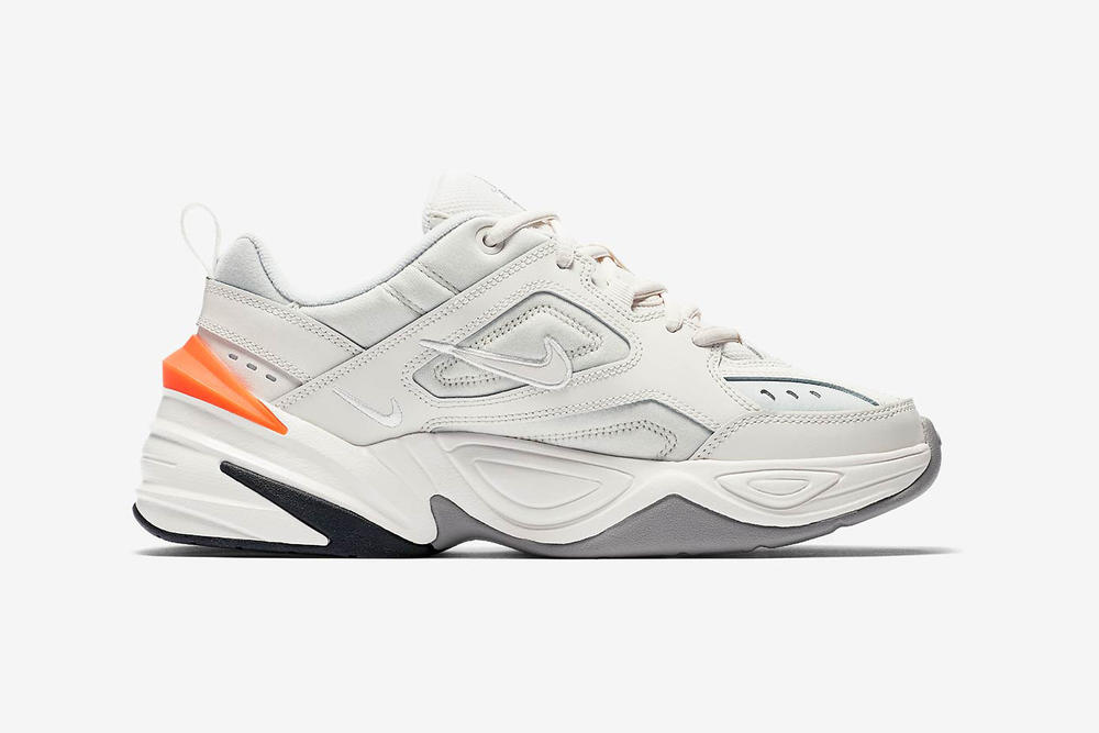 nike m2k tekno phantom dad shoe medial inside orange off white