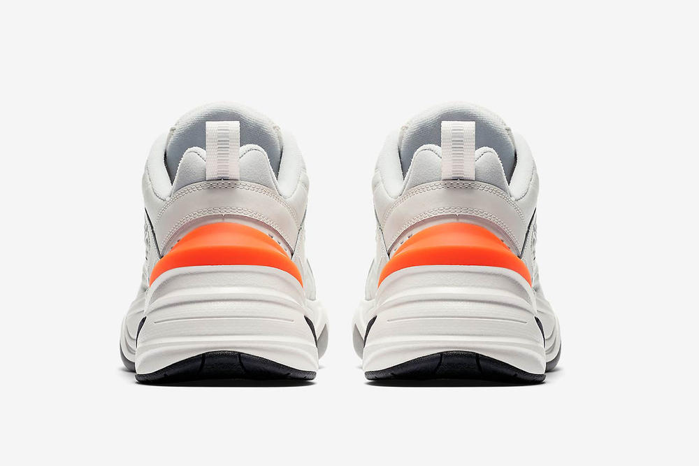 nike m2k tekno phantom dad shoe rear back view orange heel