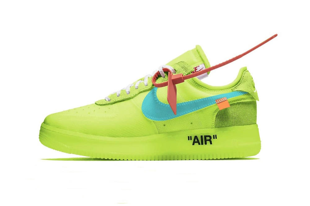 "Virgil Abloh x Nike Air Force 1 Low in ""Volt"" Lime Green Color Hue Bright Neon"