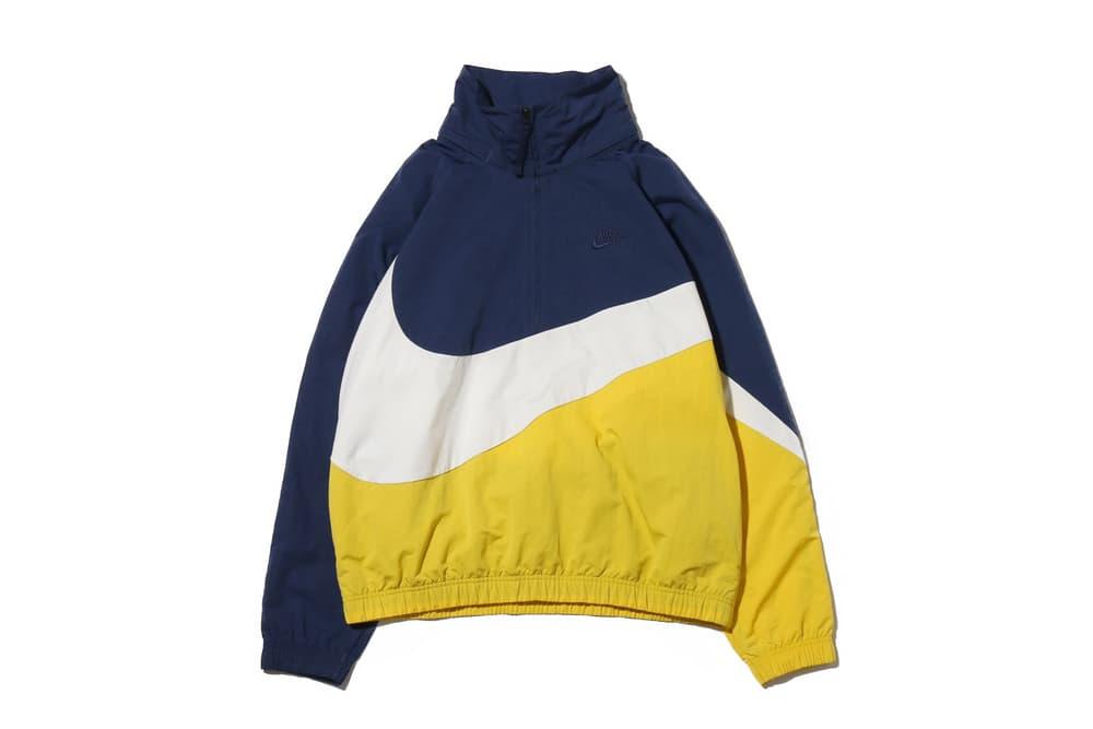 a378ff826b Nike Sportswear Big Swoosh Logo Anorak Jacket Tracksuit Yellow Vivid Sulfur  Blue Navy White Price Release