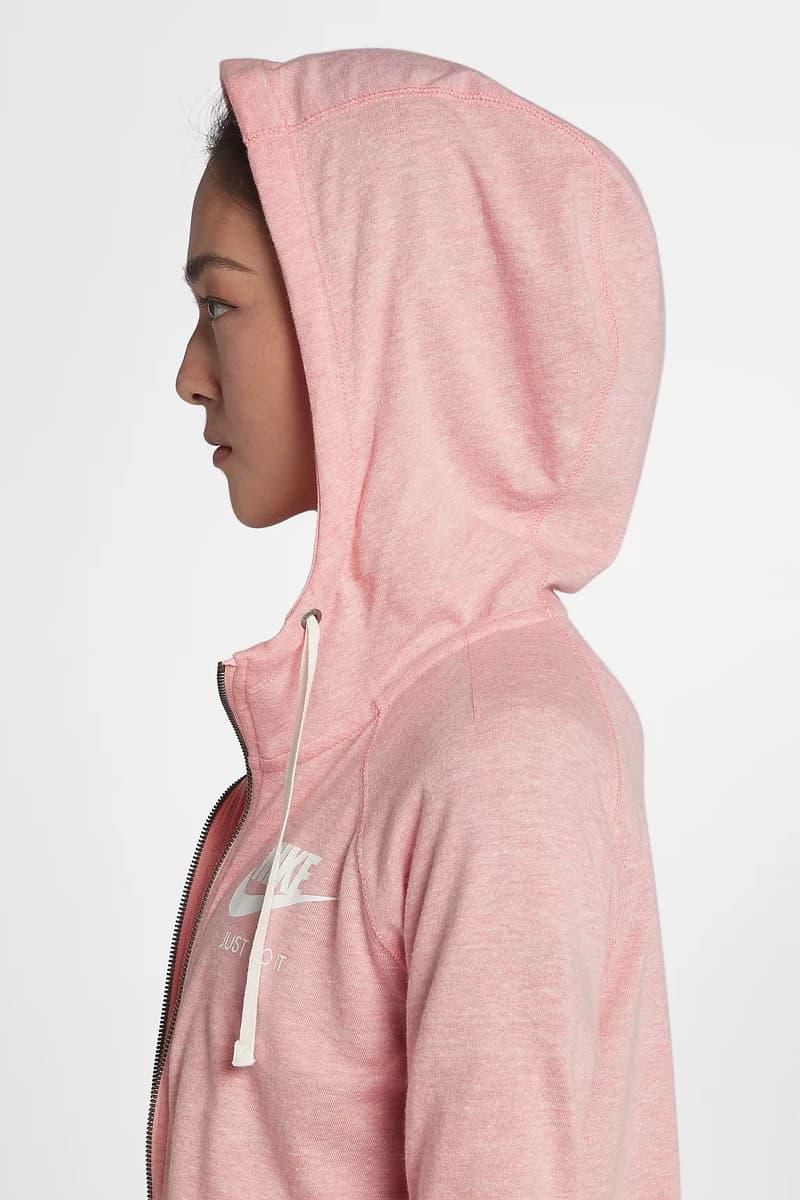 Nike Sportswear Gym Vintage Pink Full Zip Up Hoodie Spring Summer 2018 Pastel Millennial Bleached Coral Sail Price Release Where to Buy Online Store Website Women