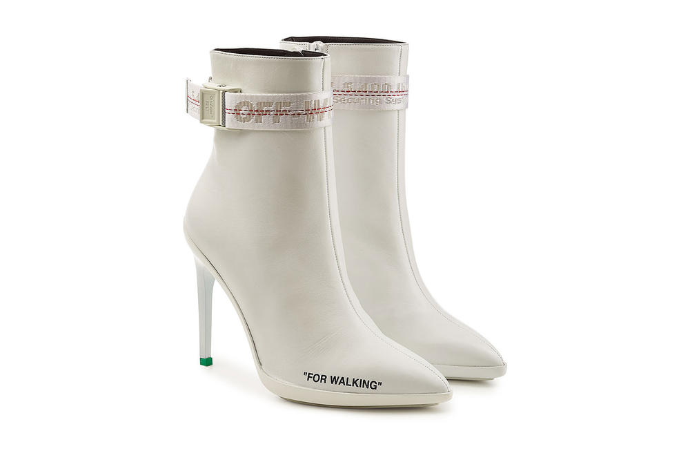 "Off-White™ ""FOR WALKING"" Ankle Boots White Leather Virgil Abloh off white where to buy Stylebop.com"