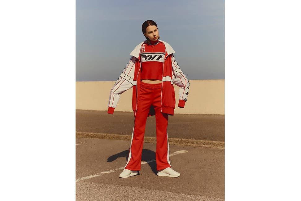 Off-White Logo-Print Stretch Top Jogging Pants Faith Connexion x Kappa Jacket Red White