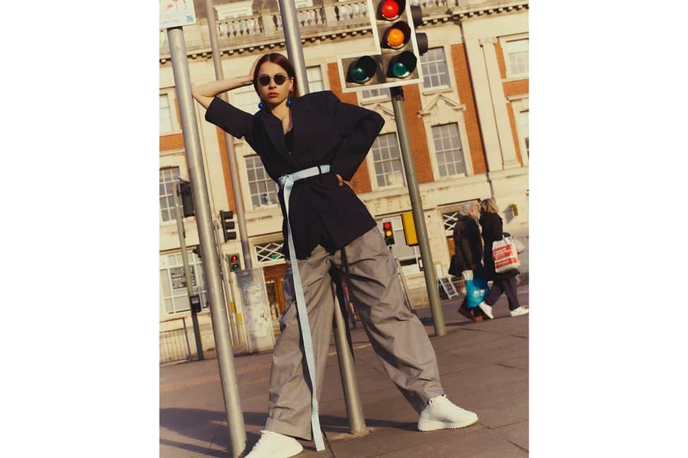 3.1 Phillip Lim Blazer Calvin Klein Bralette Off-White Checked High-Rise Trousers Industrial Belt Black Grey Blue