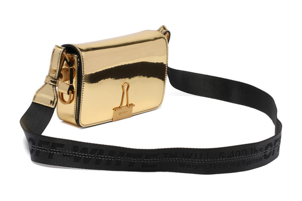 Off-White™ Metallic Gold Mini Binder Clip Bag Mirror Reflective Golden Virgil Abloh Handbag Shoulder Bag where to buy antonia.it