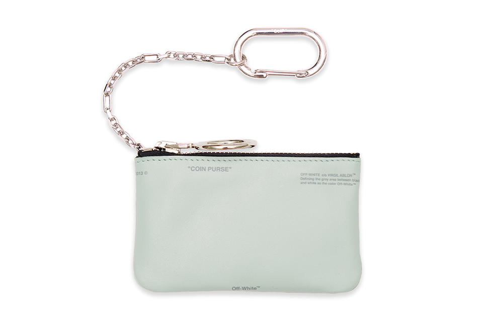Off-White™ Mini Mint Green Logo Coin Purse Where to Buy Pastel accessory silver chain Virgil abloh carabiner hiking clip