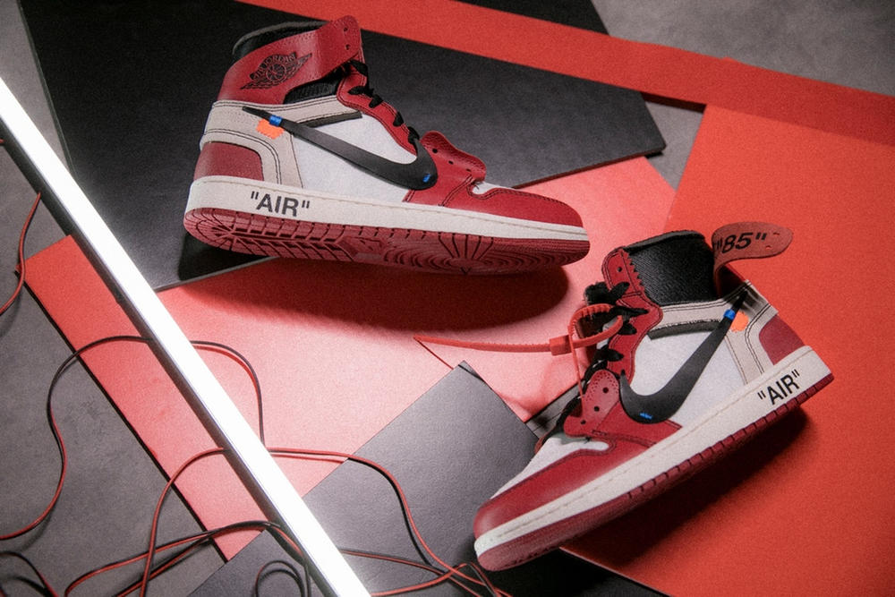 This is an image of Sassy Off White Air Jordan 1 Chicago Drawing