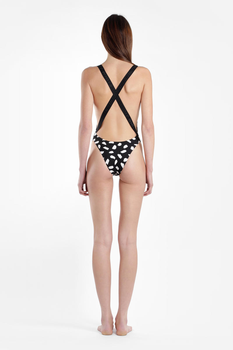 Off-White Virgil Abloh Swimsuit Beachwear Swimwear Bathing Suit One Piece Spring Summer 2018 Printed Floral Black White Bodysuit
