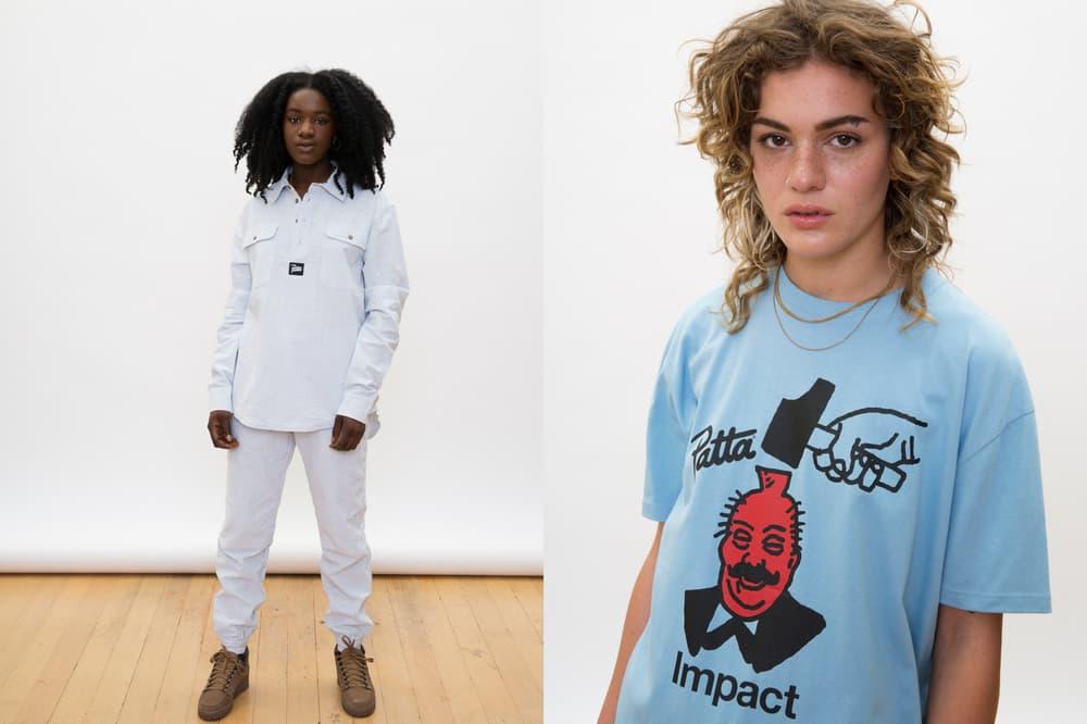 Patta Summer 2018 Collection Two-Piece Set Graphic T-Shirt Denim White Blue