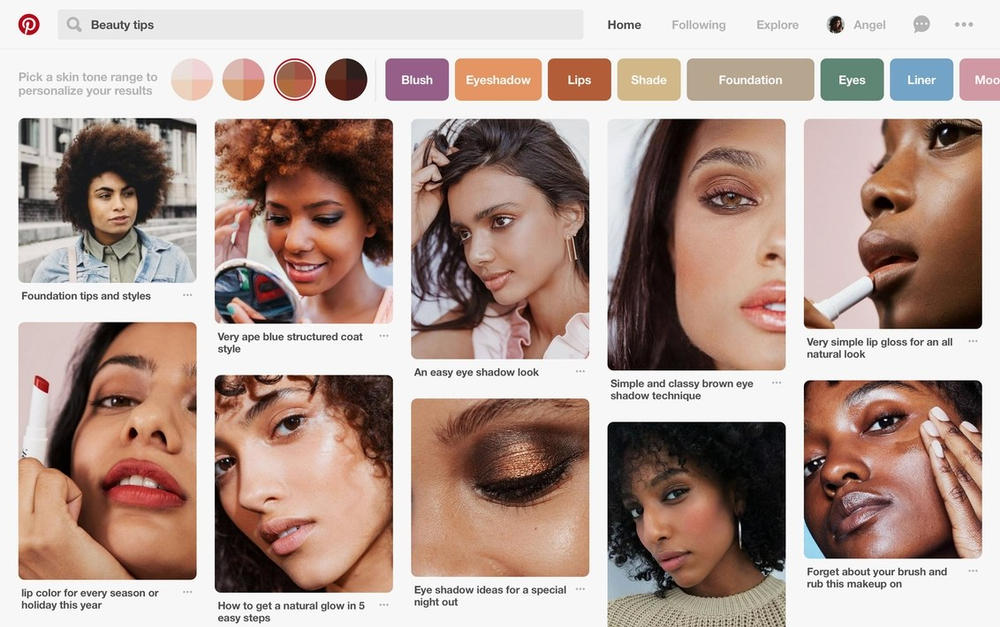 Pinterest Adds Skin Tone Filter to Search Feature Diversity Inclusivity Makeup Beauty