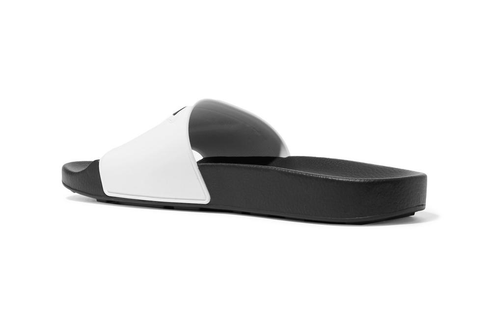 Prada Logo-Print Slides White Black