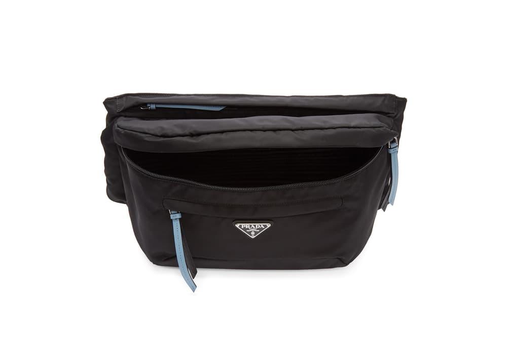 Prada Black/Blue Studded Strap Belt Bag Nylon Bum Bag Fanny Pack