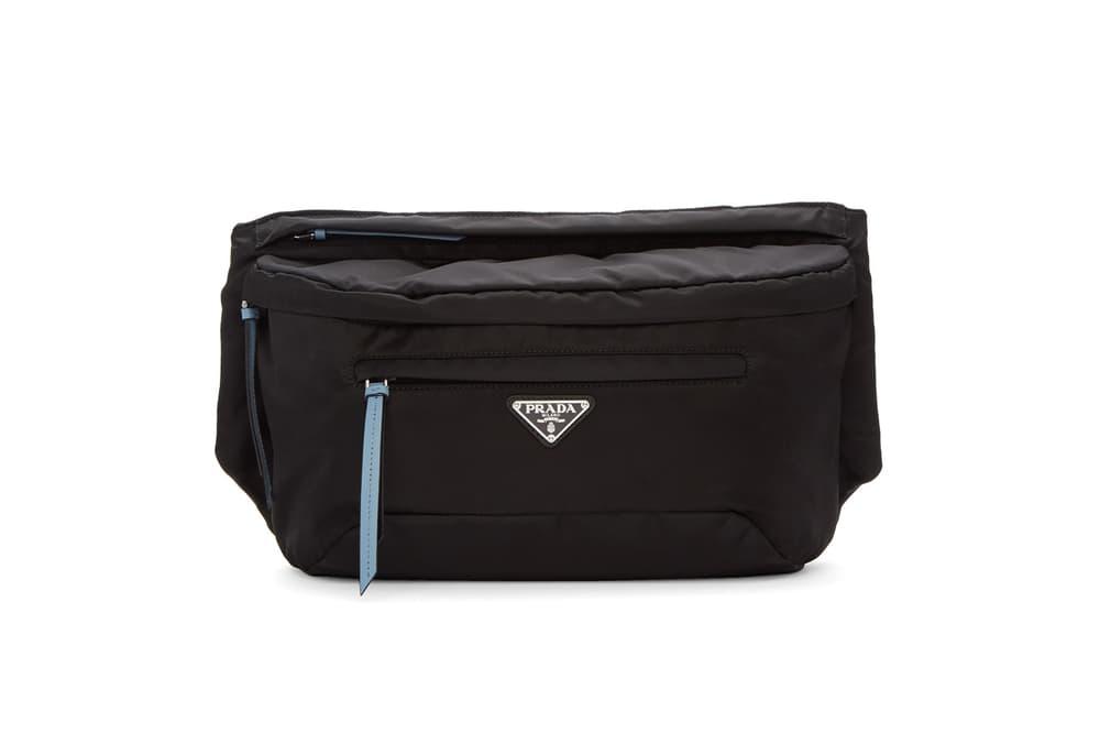 5c36ab88d28e Prada Black Blue Studded Strap Belt Bag Nylon Bum Bag Fanny Pack