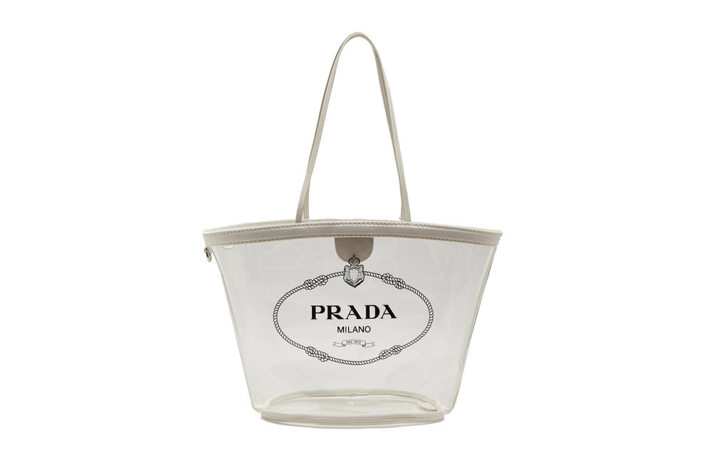 Prada Clear PVC Logo Tote Bag Designer Luxury Plastic Miuccia Prada Matchesfashion