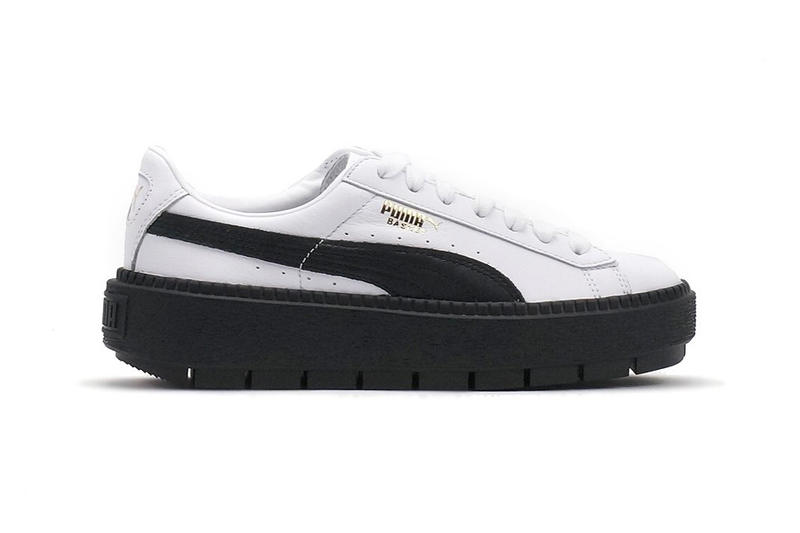 7f4c46a1557 PUMA Basket Platform Trace in White and Black