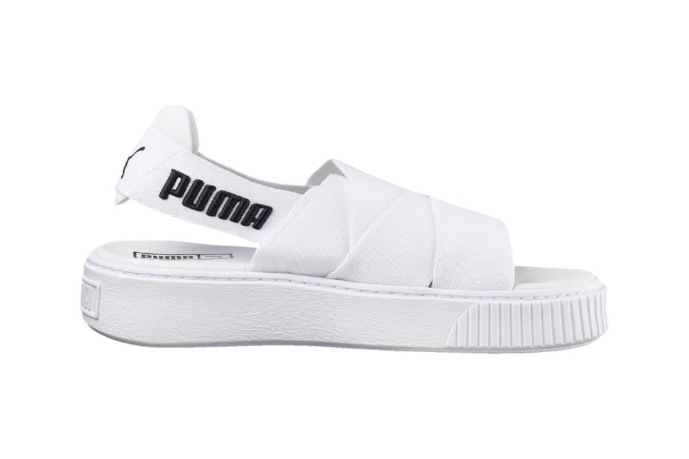 PUMA platform sandals black and white monochrome logo slingback slip-on women's where to buy sole finess