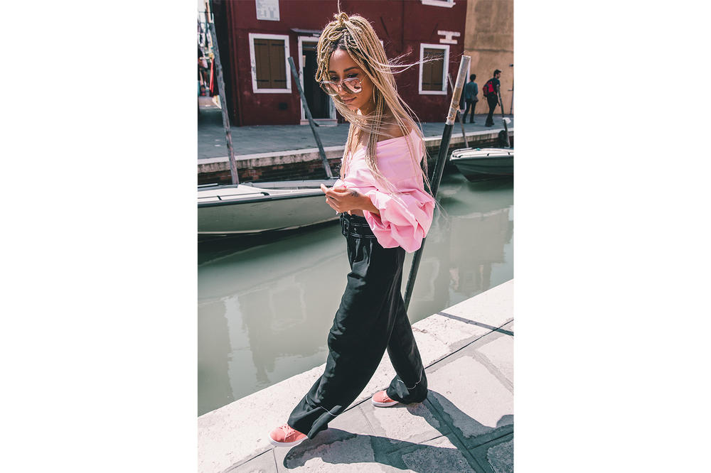 PUMA suede bow pastel blush pink sneaker satin ribbon cara delevingne emma louise connolly sophie apollonia campaign venice italy women's where to buy