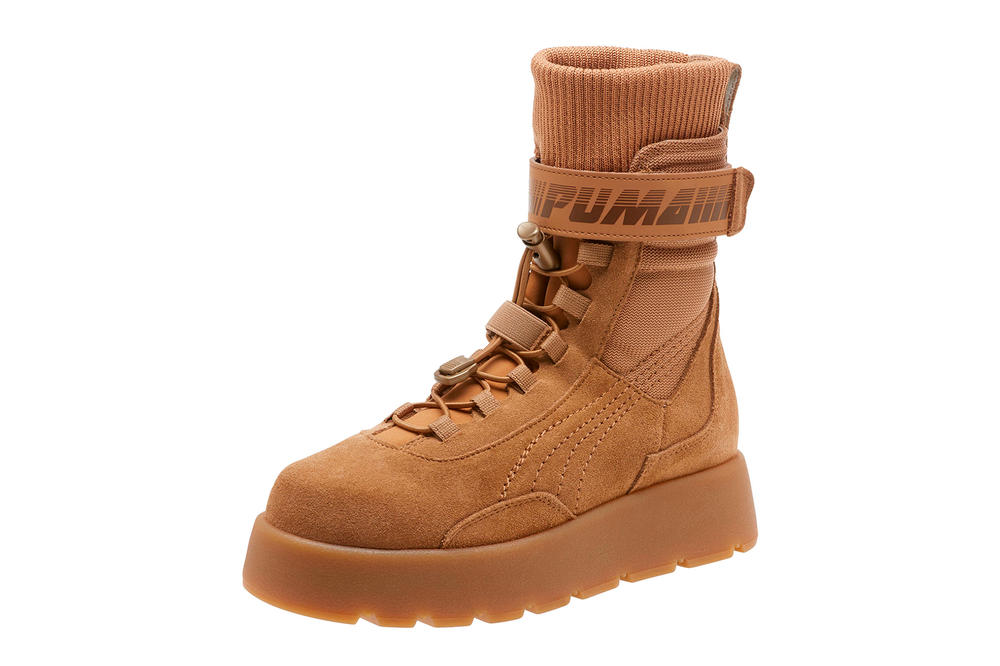 Rihanna Fenty PUMA Scuba Boot Brush Brown Tan Desert Footwear Spring Summer 2018 Colorway Shop Where to Buy Price Release Date Information Women's Shoes Festival