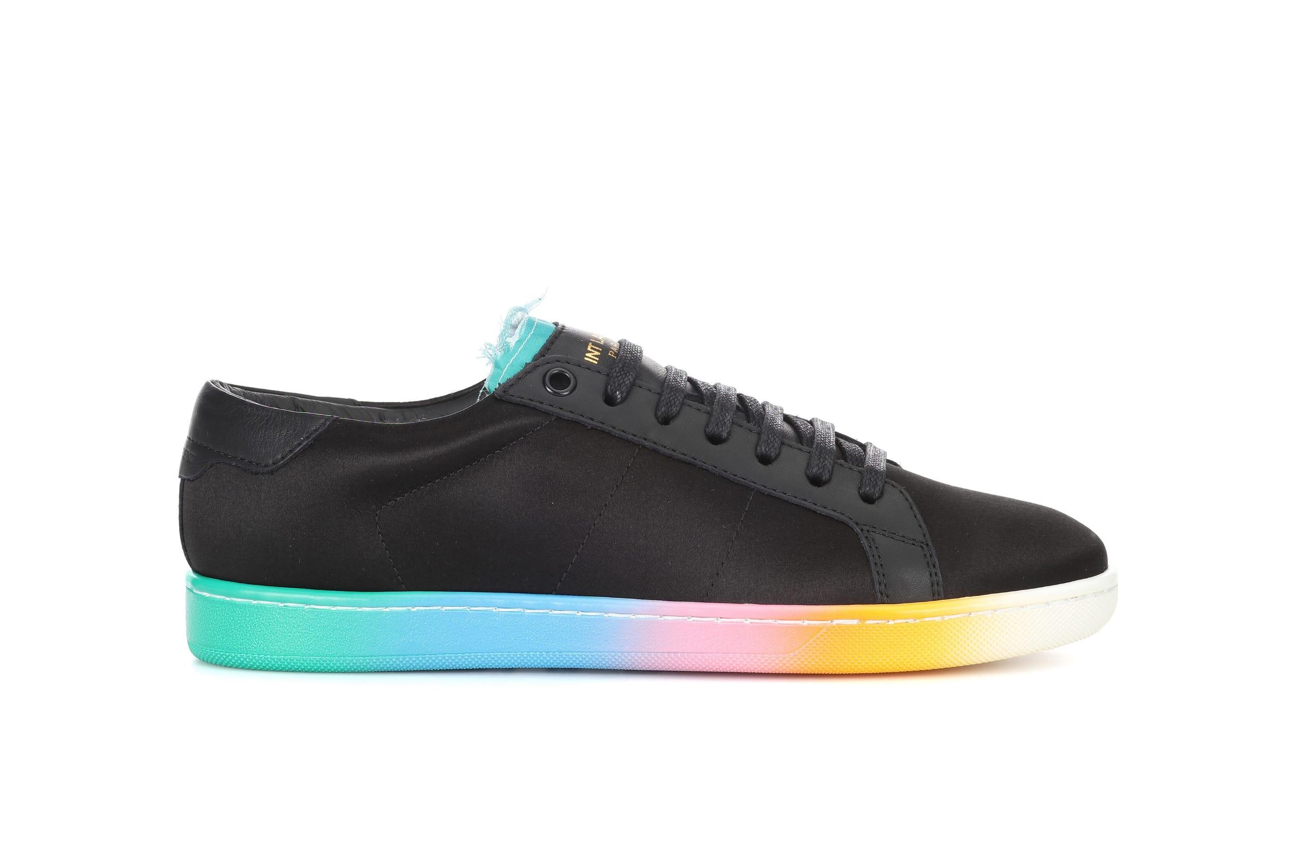 Saint Laurent Black Leather Rainbow