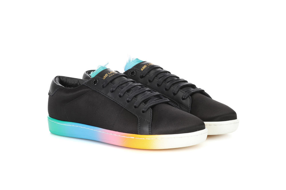 Saint Laurent Black Leather Satin Rainbow Sole Sneaker Spring Summer Silhouette Blue Pink White Yellow