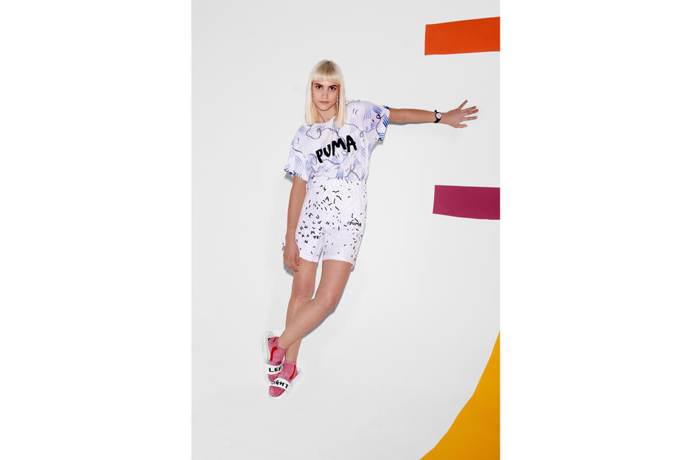 Shantell Martin x PUMA Spring/Summer 2018 Drop 2 T-Shirt Shorts Leadcat Slides White