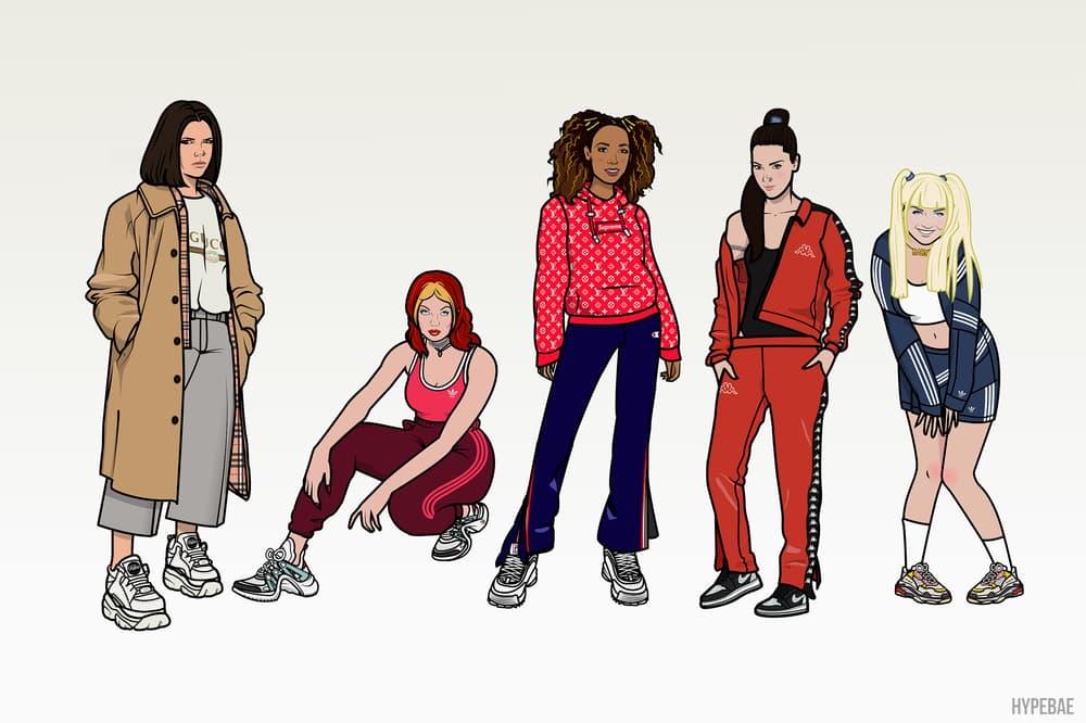 Spice Girls Streetwear Illustrations Nike adidas Originals Balenciaga Fila Gucci Louis Vuitton Victoria Beckham Mel C Mel B Geri Halliwell Emma Bunton