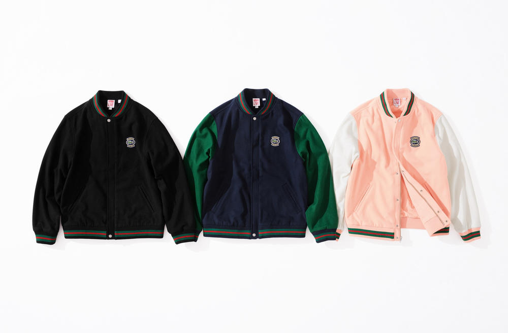 Supreme x Lacoste Spring 2018 collection collaboration release info collab date varsity jacket sweatshirt shorts nylon track jacket side bag waist fanny pack bumbag