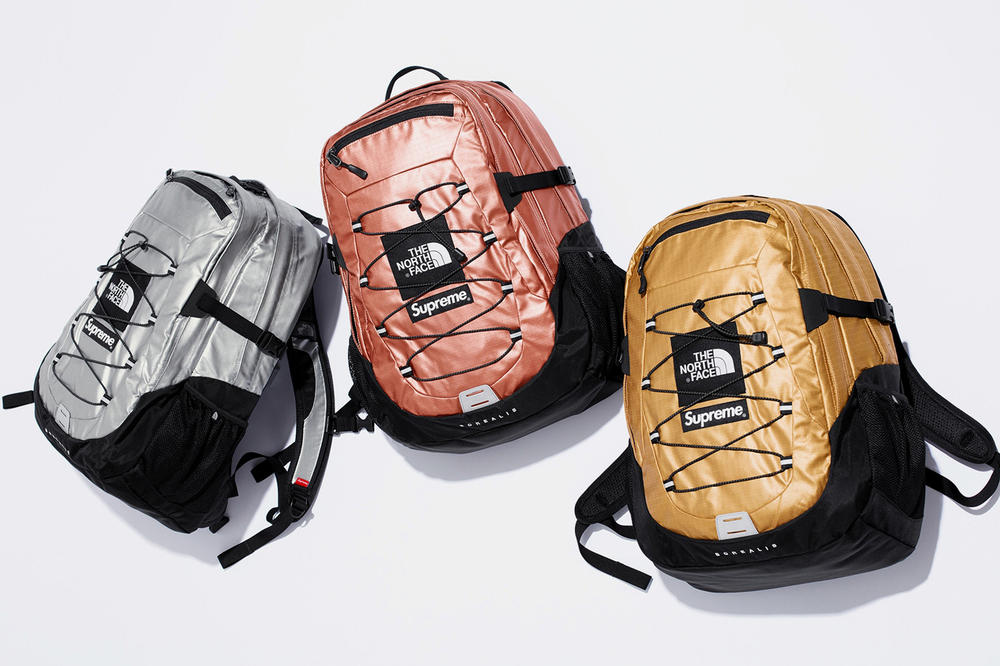 Supreme x The North Face Spring 2018 Metallic Collection Borealis Backpack Gold Rose Silver
