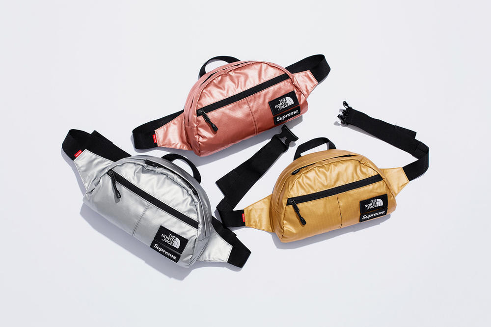 Supreme x The North Face Spring 2018 Metallic Collection Roo II Lumbar Pack Silver Gold Rose