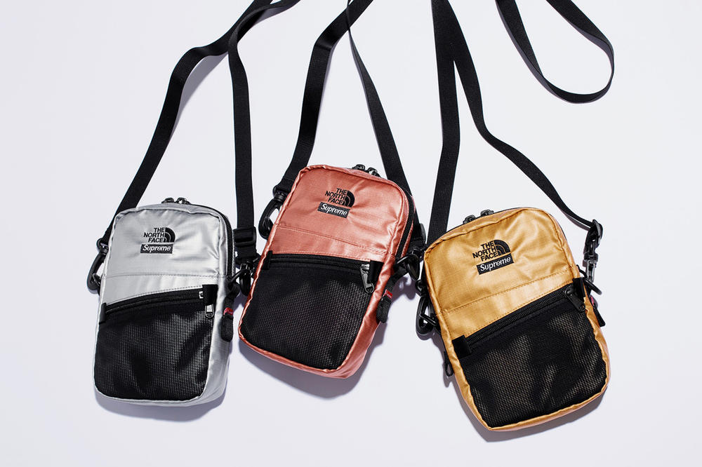 Supreme x The North Face Spring 2018 Metallic Collection Shoulder Bag Rose Gold Silver