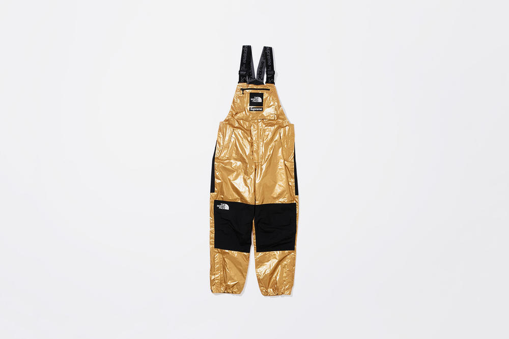 Supreme x The North Face Spring 2018 Metallic Collection Mountain Bib Pants Gold