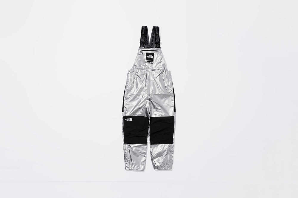 Supreme x The North Face Spring 2018 Metallic Collection Mountain Bib Pants Silver