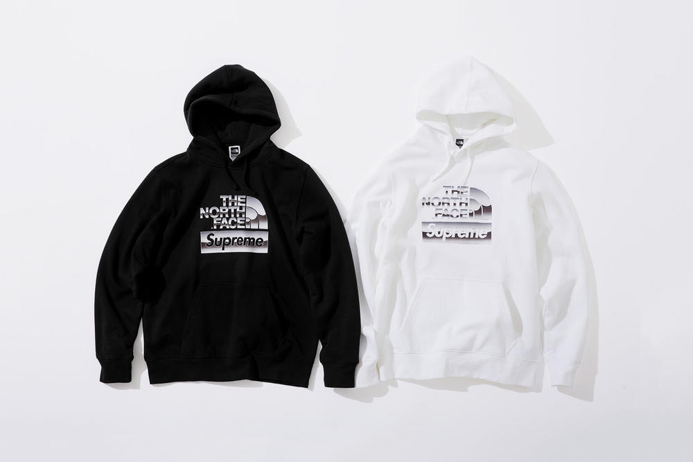 Supreme x The North Face Spring 2018 Metallic Collection Hooded Sweatshirt Black White