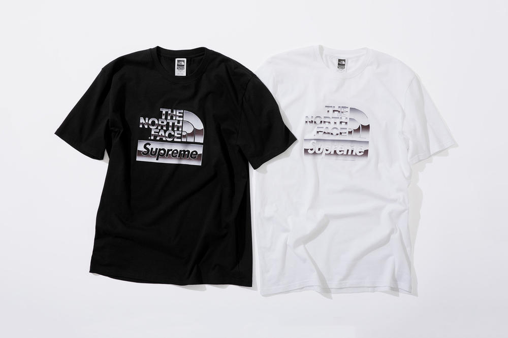 Supreme x The North Face Spring 2018 Metallic Collection T-Shirt Black White