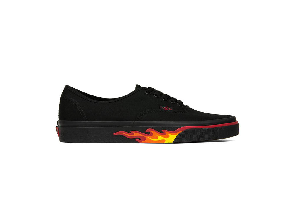 """Vans """"Flame Wall"""" Collection Slip-On Authentic Old Skool Sneaker Collection Fire Print Black Red Orange"""
