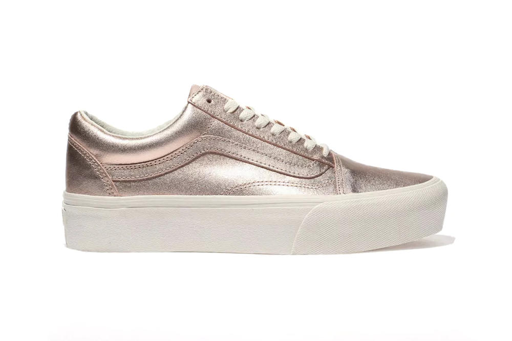 9d522719651 Vans Old Skool Platform Metallic Rose Gold Sneakers Trainers Shoes Women s  Ladies Girls Where to Buy