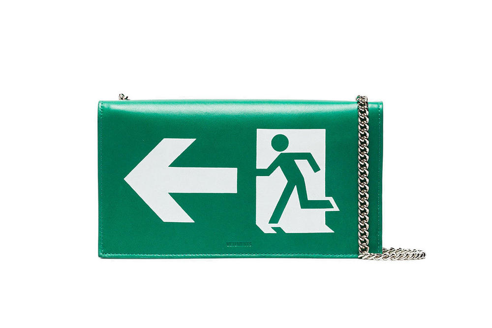 Vetements Green Leather 'EXIT' Handbag Purse Bag Sign Small Cross Body Demna Gvasalia