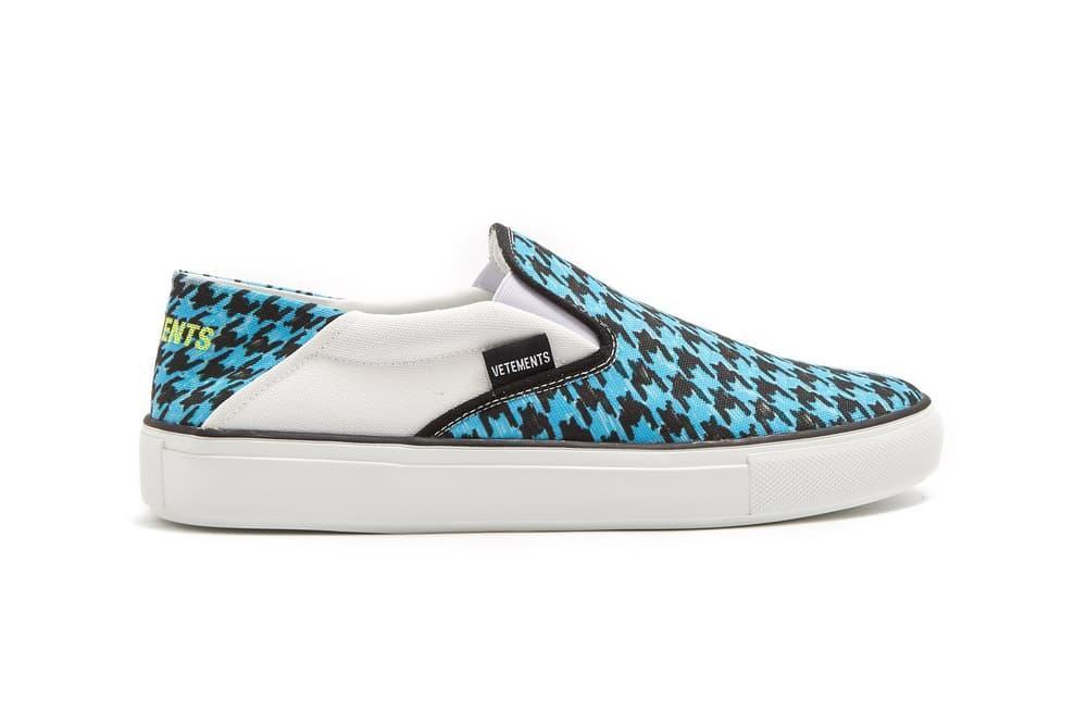 ebb8fce8f39fbd Vetements Houndstooth-Print Slip-On Sneakers Blue