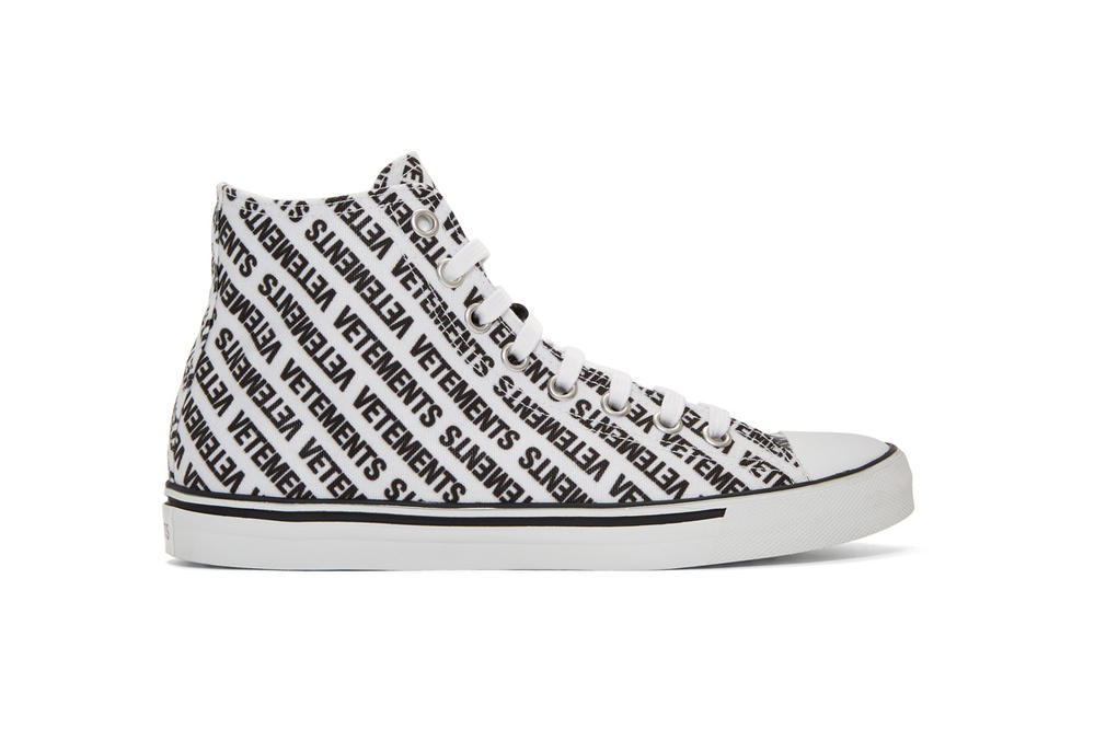 vetements demna gvasalia logo high top sneakers black white canvas rubber