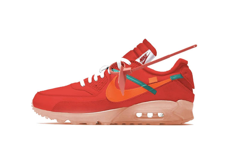 "Virgil Abloh x Nike Air Max 90 ""University Red"" Collaboration The Ten Upcoming Release"