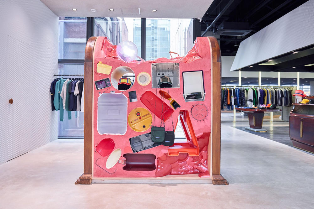 worksout hongdae seoul select shop streetwear collaborations pink art installation yellow red