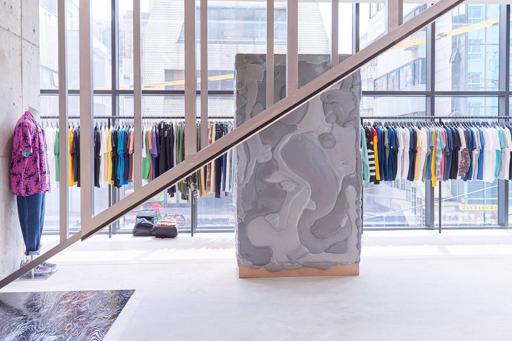worksout hongdae seoul select shop streetwear collaborations concrete stairs window