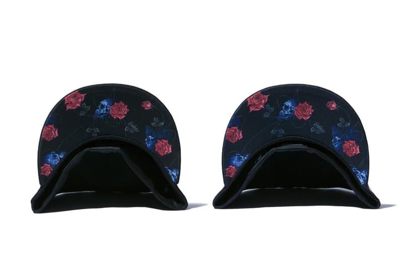 yohji yamamoto new era collaboration skull rose cap black navy