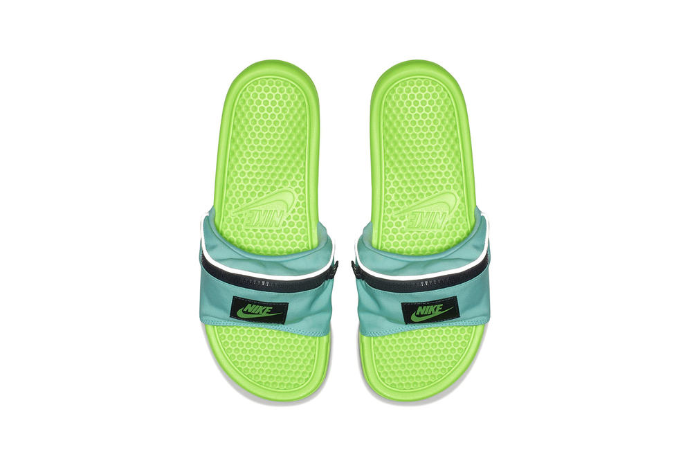 "Nike ""Fanny Pack"" Benassi Slides Pink Green Black"