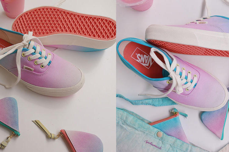 1836504eab Vans Charlotte Shibuya Aya Kawasaki Collaboration Peach Soda Sneaker ombre  pink blue