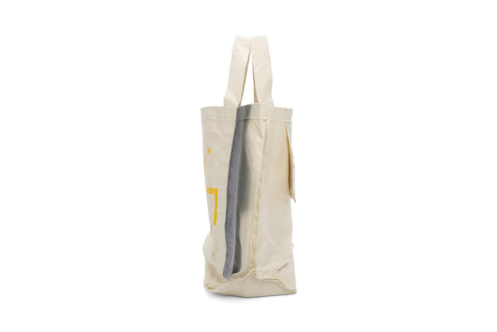 a cold wall samuel ross beige plastic frayed tote bag