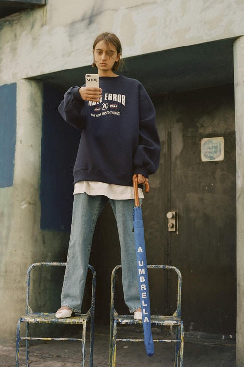 Ader Error Spring/Summer 2018 Collection Campaign Sweater Jeans Navy Blue